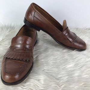 Magnanni brown leather slip on men's loafers